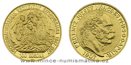 2017 - 150. výročí korunovace Františka Josefa I. - pamětní 100 koruna 1907 K.B.