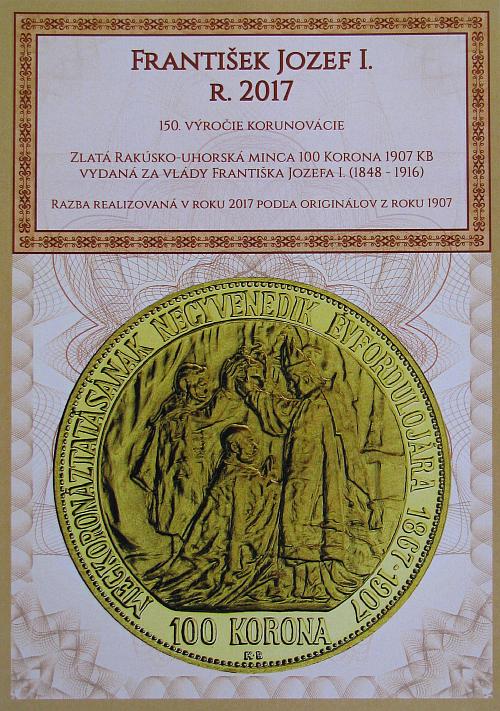 2017_100_koruna_FJI_RU_1907_K.B._novorazba_Au_unc_certifikat_1
