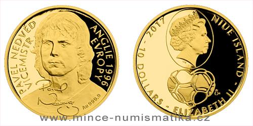 Zlatá čtvrtuncová mince 10 NZD Pavel Nedvěd