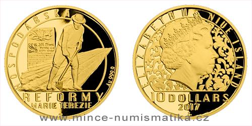 Zlatá čtvrtuncová mince Reformy Marie Terezie - hospodářská