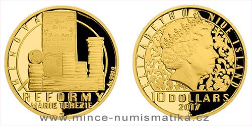 Zlatá čtvrtuncová mince Reformy Marie Terezie - měnová