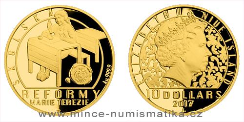 Zlatá čtvrtuncová mince Reformy Marie Terezie - školská