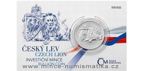 Stříbrná uncová investiční mince Český lev 2017, číslovaný obal