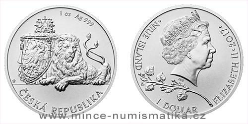 Stříbrná uncová investiční mince Český lev 2017
