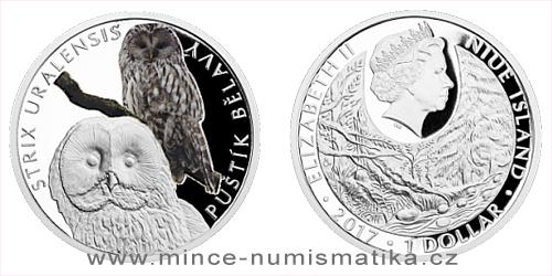 Stříbrná mince Ohrožená příroda - Puštík bělavý