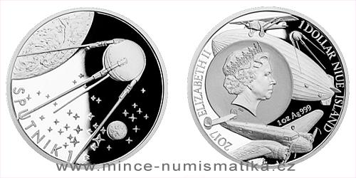 Stříbrná mince Století létání - Vypuštění družice Sputnik