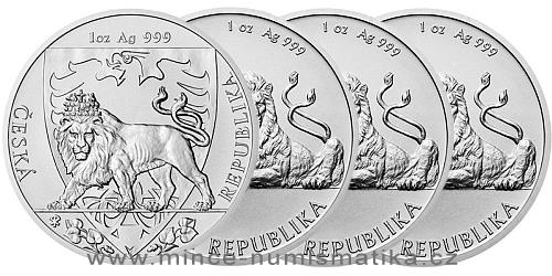 Stříbrná uncová investiční mince Český lev 2017, 2018, 2019 a 2020