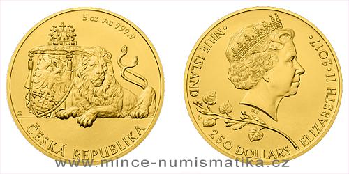 Zlatá pětiuncová investiční mince Český lev 2017