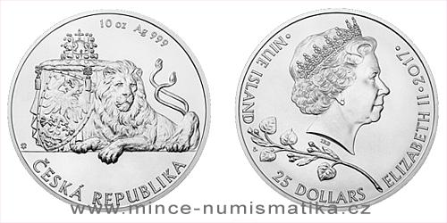 Stříbrná desetiuncová investiční mince Český lev 2017