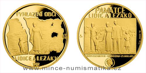 Zlatá čtvrtuncová mince Lidice a Ležáky