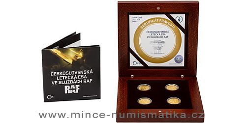 Sada čtyř zlatých mincí Československá letecká esa ve službách RAF