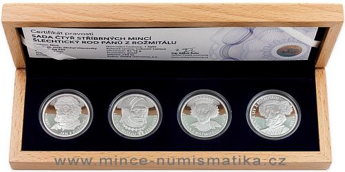 Sada čtyř stříbrných mincí Šlechtický rod Pánů z Rožmitálu
