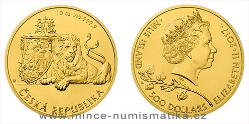 Zlatá desetiuncová investiční mince Český lev 2017