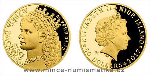Zlatá uncová mince Alžběta Bavorská - Sissi