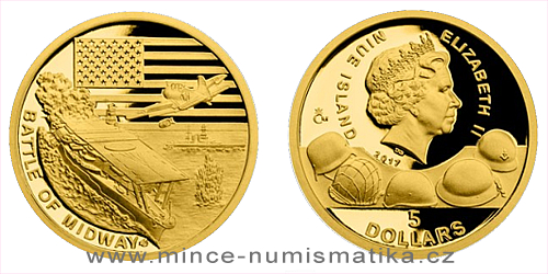 Zlatá mince Válečný rok 1942 - Bitva u Midway