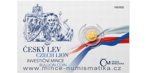 Zlatá 1/25 oz investiční mince Český lev 2017, číslovaný obal