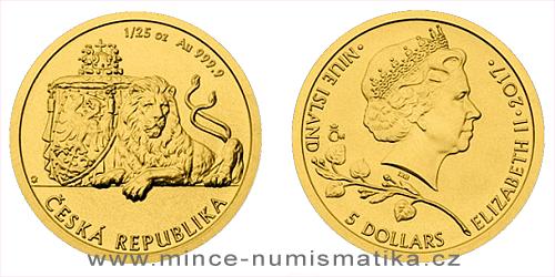 Zlatá 1/25 oz investiční mince Český lev 2017
