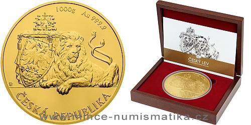 Zlatá kilogramová investiční mince Český lev 2017