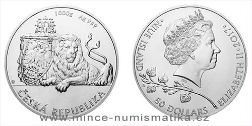 Stříbrná kilogramová investiční mince Český lev 2017
