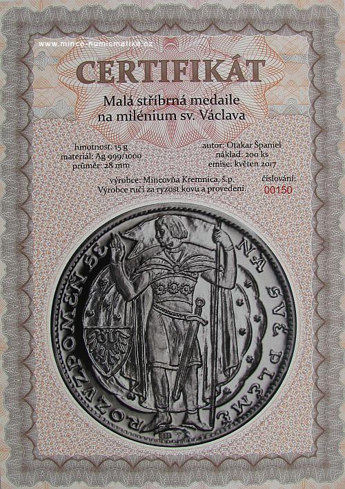 2017_Milenium_sv._Vaclava_Ag_mala_certifikat