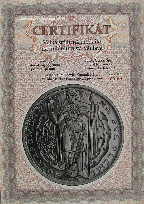2017_Milenium_sv._Vaclava_Ag_velka_certifikat