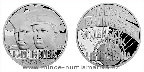 Stříbrná medaile Národní hrdinové - Jozef Gabčík a Jan Kubiš