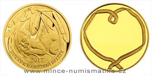Zlatý dukát k narození dítěte 2017 s věnováním