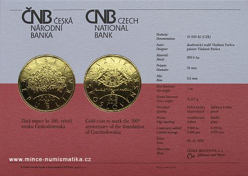 2018_10000_Kc_Vznik_Ceskoslovenska_Au_certifikat