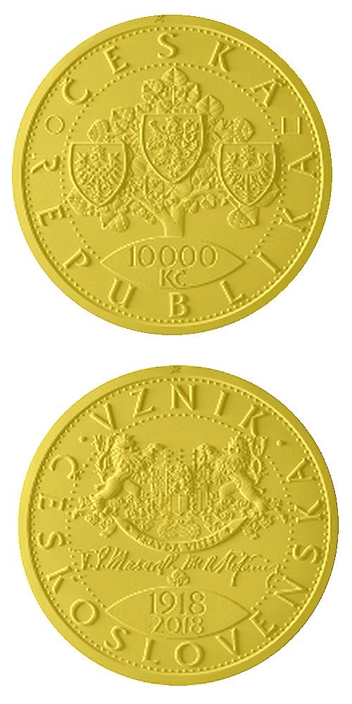 2018_10000_Kc_Vznik_Ceskoslovenska_Au_navrh_mince