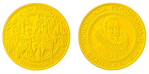 100 € - Bratislavské korunovácie – 400. výročie korunovácie Ferdinanda II.