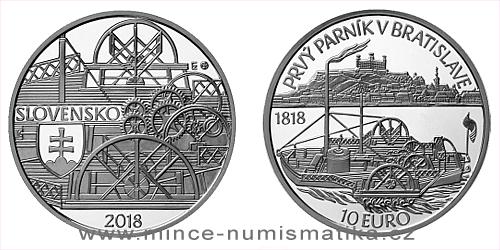 10 € - 200. výročie - Plavba prvého parníka na Dunaji v Bratislave