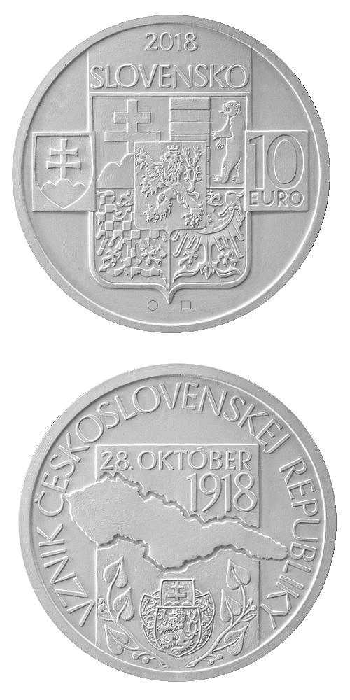 2018_10_euro_Vznik_Ceskoslovenska_Ag_nahled_mince