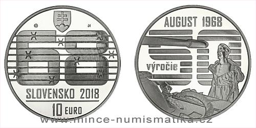 10 € - Nenásilný spontánny odpor občanov proti vstupu vojsk Varšavskej zmluvy v auguste 1968