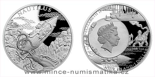 Stříbrná mince Fantastický svět Julese Verna - Ponorka Nautilus