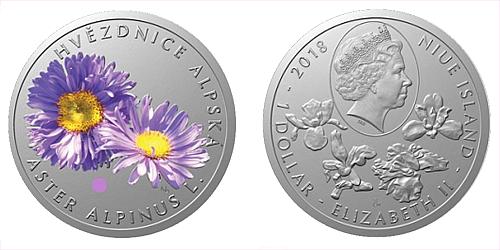 Stříbrná mince 1 NZD Ohrožená příroda - Hvězdice alpská