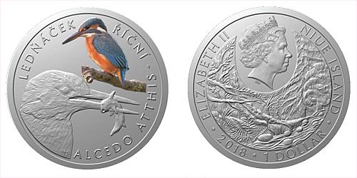 Stříbrná mince 1 NZD Ohrožená příroda - Ledňáček říční