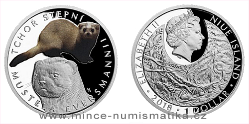 Stříbrná mince 1 NZD Ohrožená příroda - Tchoř stepní