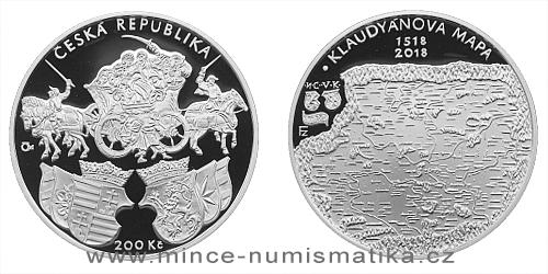 200 Kč - 500. výročí - Vydání Klaudyánovy mapy – první mapy Čech