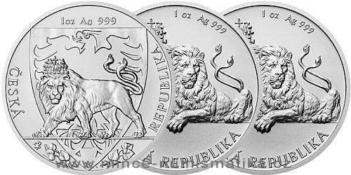 Stříbrná uncová investiční mince Český lev 2018, 2019 a 2020