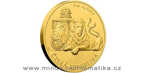 Zlatá pětiuncová investiční mince Český lev 2018