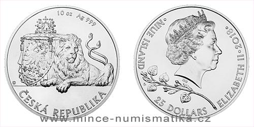 Stříbrná desetiuncová investiční mince Český lev 2018