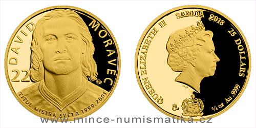 Zlatá čtvrtuncová mince Legendy čs. hokeje - David Moravec