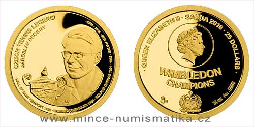 Zlatá čtvrtuncová mince České tenisové legendy - Jaroslav Drobný