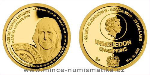 Zlatá čtvrtuncová mince České tenisové legendy - Martina Navrátilová