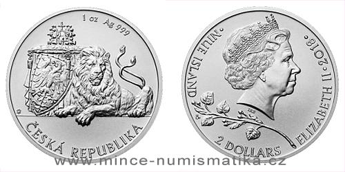 Stříbrná uncová investiční mince Český lev 2018