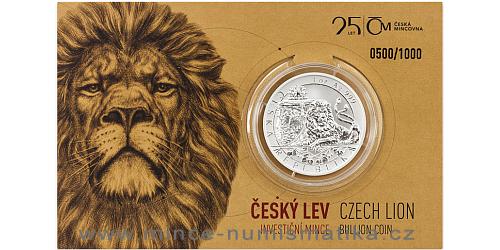 Stříbrná uncová investiční mince Český lev 2018 reverse proof, číslovaný obal