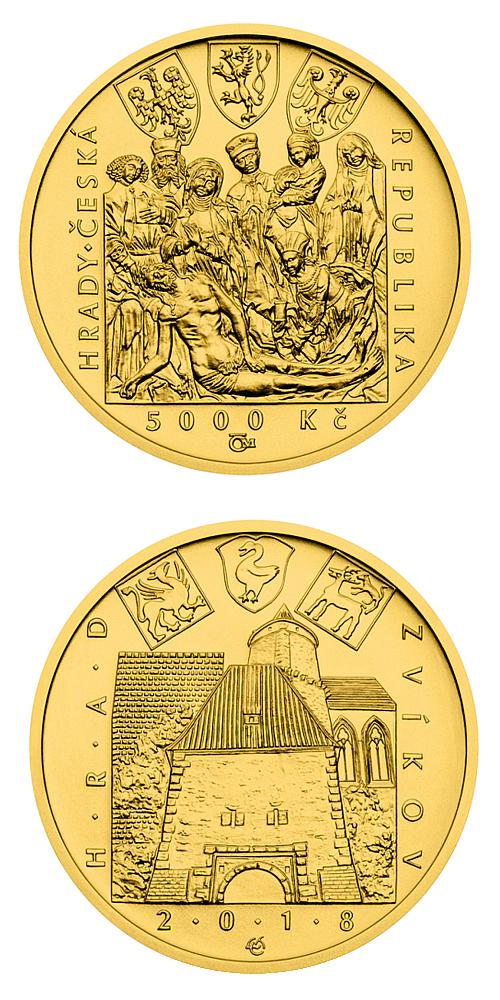 2018_5000_Kc_Hrad_Zvikov_Au_mince_detail_bk