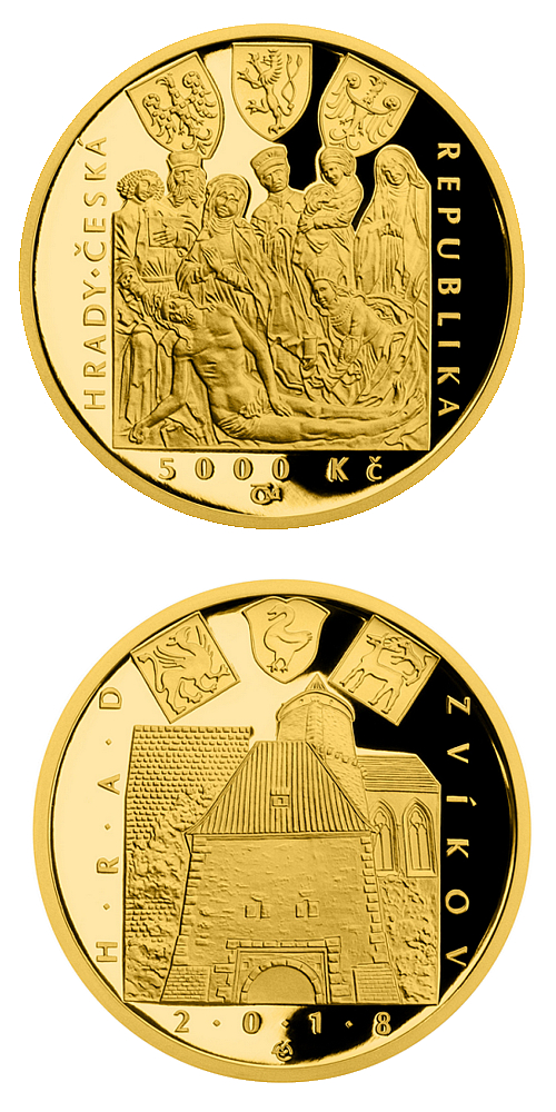 2018_5000_Kc_Hrad_Zvikov_Au_pp_mince_detail