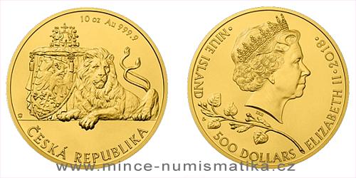 Zlatá desetiuncová investiční mince Český lev 2018
