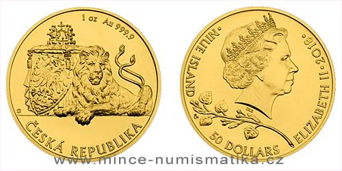 Zlatá uncová investiční mince Český lev 2018
